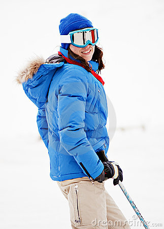 Young Woman On Ski Resort Royalty Free Stock Photos - Image: 7802118