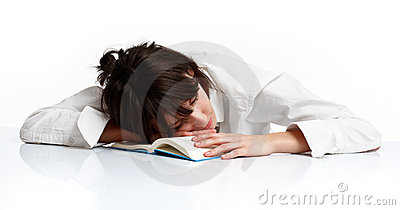Young woman sleeping tired of learning