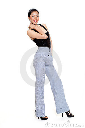 Young woman smile in long pants