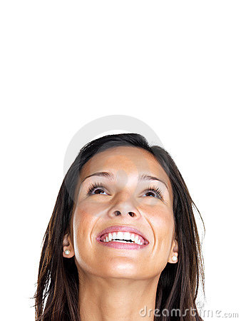 Young woman smiling face looking up at copyspace
