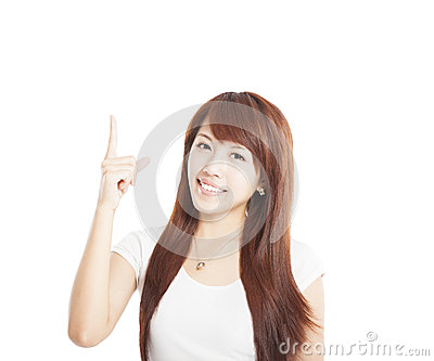 Young  Woman smiling and pointing up