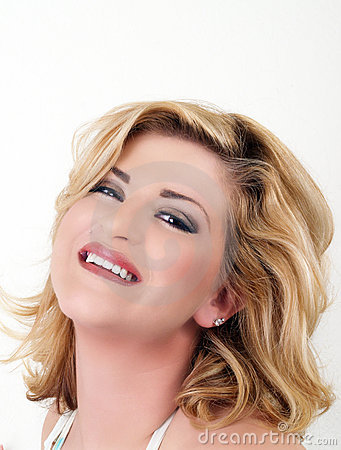 Young woman smiling portrait head tilted back