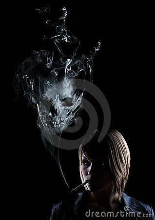 Young woman smokes, in the smoke appears a skull