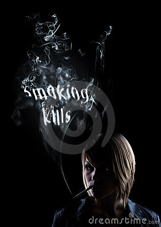 Young woman smokes smoking kills