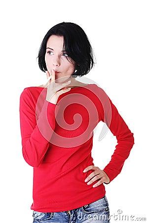 Young woman smoking electronic cigarette -ecigarette