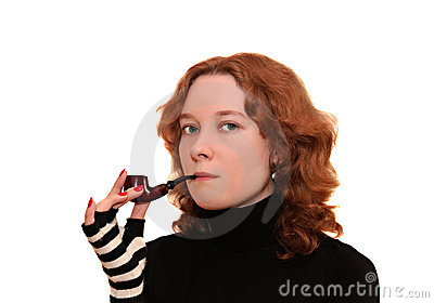Young woman smoking a pipe