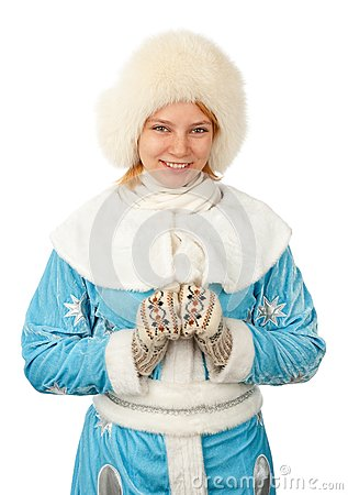 Young woman in snow maiden costume