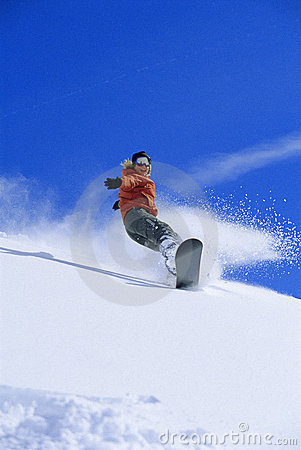 Free Young Woman Snowboarding Stock Photo - 6077360