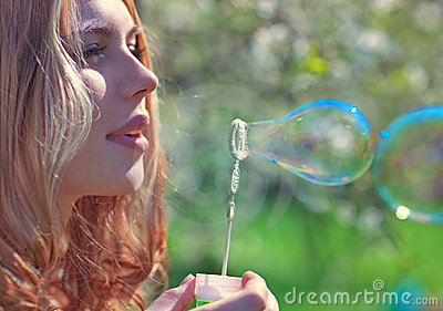 Young Woman With Soap Bubbles Royalty Free Stock Photos - Image: 14928178