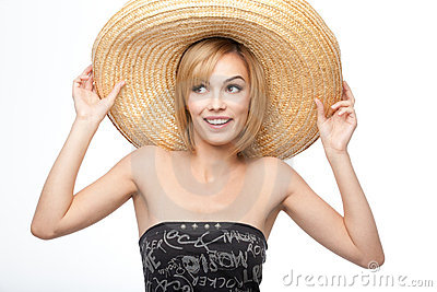Young woman with a sombrero hat