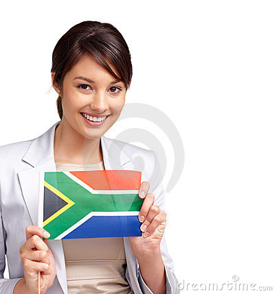 Young Woman With A South African Flag On White Stock Photo ...