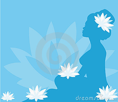 Young woman in spa with lotus blooms