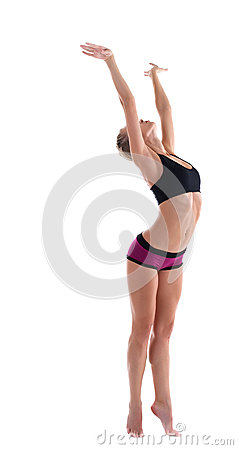 Young woman stand in fitness costume isolated