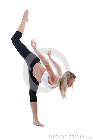 Young woman stand on split isolated
