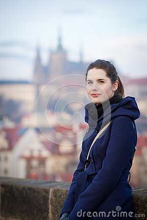 Free Young Woman Standing On The Charles Bridge In Prague Royalty Free Stock Photos - 48411298