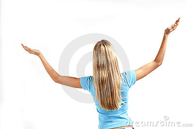 Young woman standing with raised arms