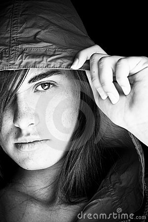Young woman staring at camera