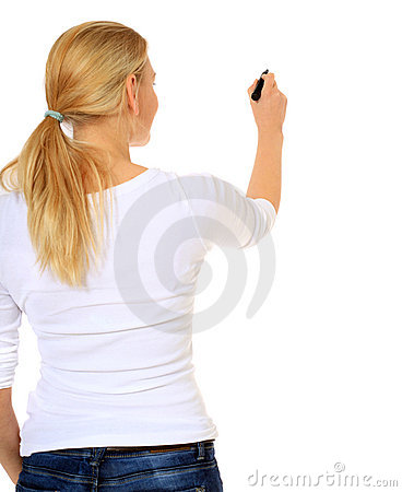 Young woman starts drawing with marker