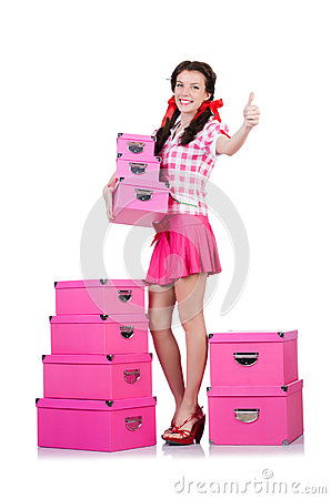 Young woman with storage boxes