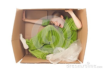 Young woman stretch box by hands and legs