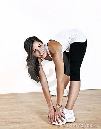 Young woman stretching exercise