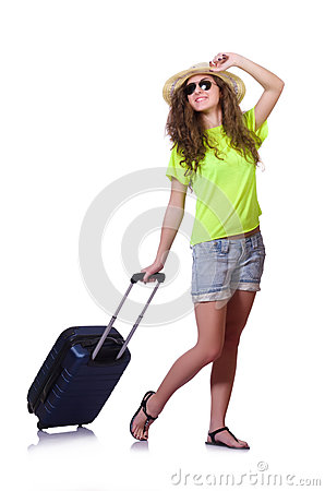 Young woman with suitcase