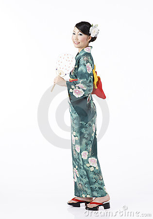 A young woman in summer kimono