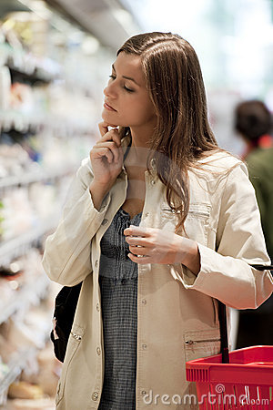 Young woman at supermarket
