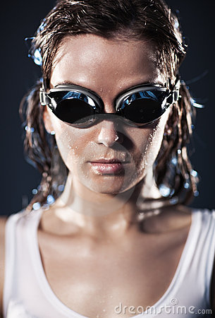Young woman swimmer portrait