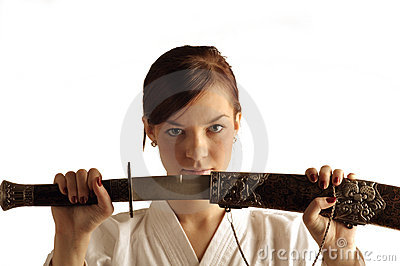 Young woman with sword