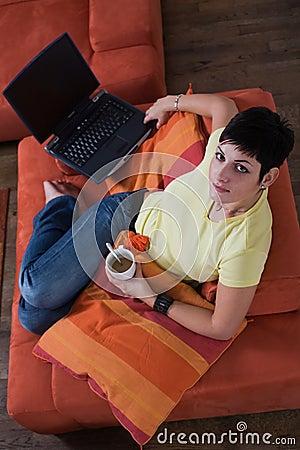Young woman takes a break