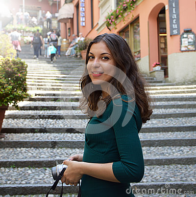 Free Young Woman Taking Photo In Salita Serbelloni Picturesque Small Town Street View In Bellagio, Lake Como, Italy Royalty Free Stock Images - 92985639