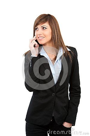 Young woman talking on cell phone isolated