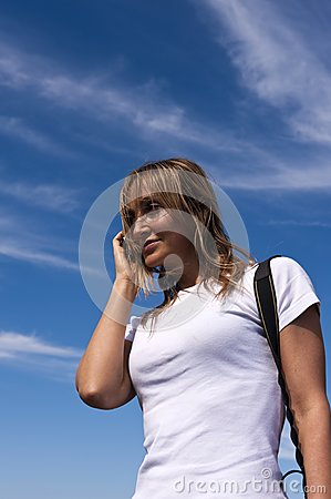 Young woman talking on a cellphone