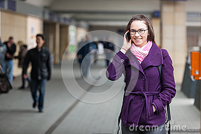 Woman at Train Station