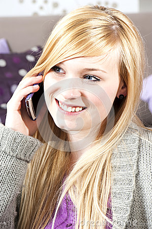 Young woman with telephone