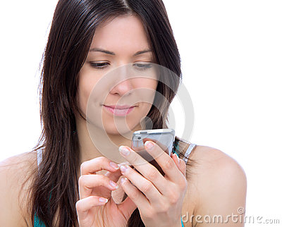 Young woman texting on mobile cell phone mobile