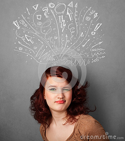 Young woman thinking with sketched arrows above her head Stock Photo