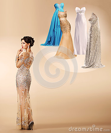 Free Young Woman Thinking Which Dress To Wear On New Year S Party . Royalty Free Stock Photo - 35097385