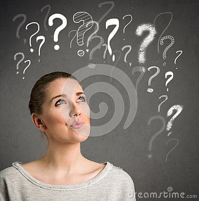Free Young Woman Thinking With Question Marks Over Head Royalty Free Stock Image - 41251136