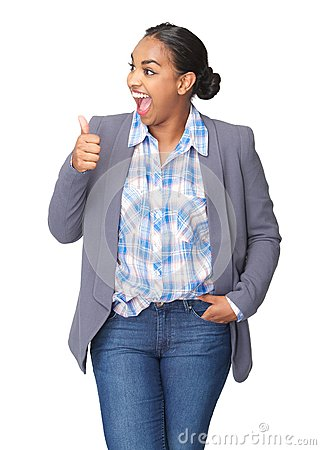 Young woman with thumbs up gesture