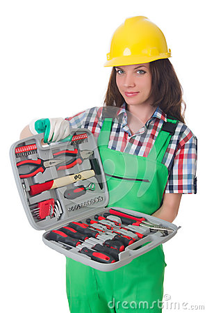 Young woman with toolkit