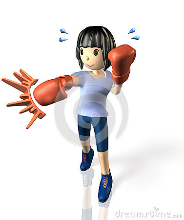 Young woman is in training for boxing.