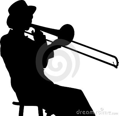 Young Woman Trombone Player In Silhouette Royalty Free ...