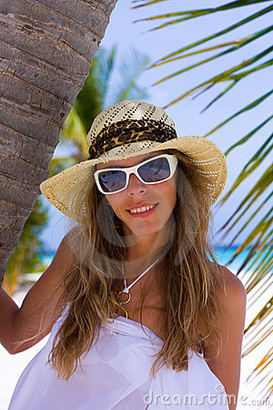 Young woman on a tropical beach