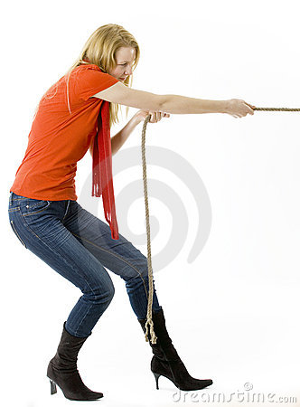 young woman tug-of-war