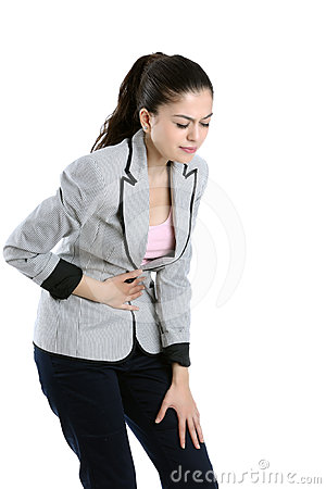Young woman with tummy ache