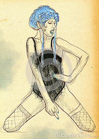 Young woman in underwear. Hand drawn illustration.