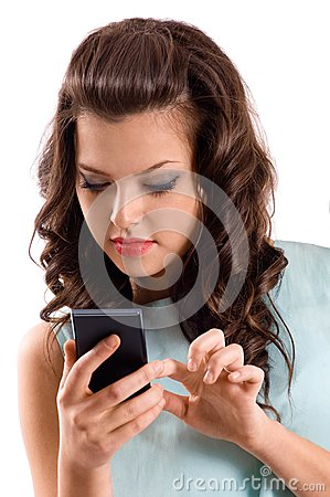 A young woman using smart phone