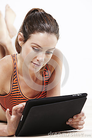 Young woman using a tablet Stock Photo